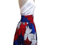 jupe froncée, WAX 100% coton aux motif africains bleu et rouge