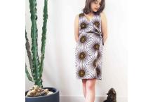 Robe portefeuille, WAX 100% coton aux motif africains soleil sur fond blanc