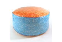 Pouf grande taille orange et bleue