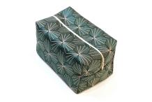 Trousse cube tissu - blanc&vert