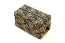 Trousse cube tissu- doré&bleu